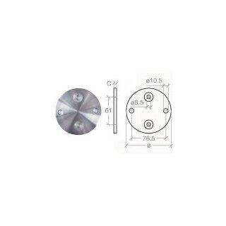 VA-Anschraubplatte Ø100 x 6 mm, 2x 8,5 mm + 2x 11 mm