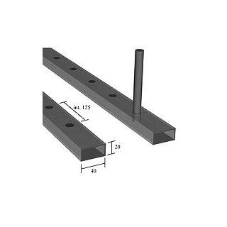 Rechteckrohr 30 x 20 x 2 x 3000 mm glatt, Loch 12 x 12 mm einseitig, a=125 mm